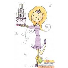 """Штампик """"Girl With Cake"""""""