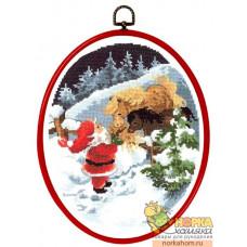 Санта Клаус с лошадкой (с рамкой)