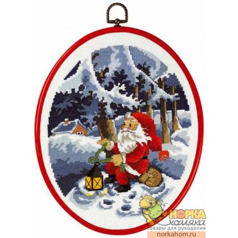 Санта Клаус с фонариком (с рамкой)
