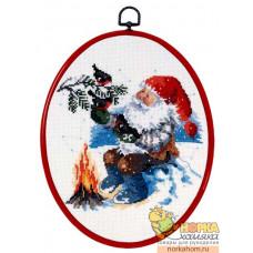 Санта Клаус у костра (с рамкой)