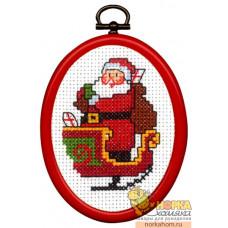 Санта в санях (с рамкой)
