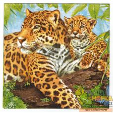 "Салфетка для декупажа ""Семейство леопардов"""
