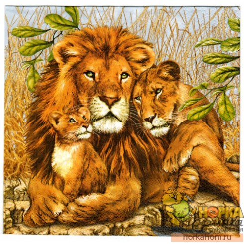 "Салфетка для декупажа ""Семейство львов"""
