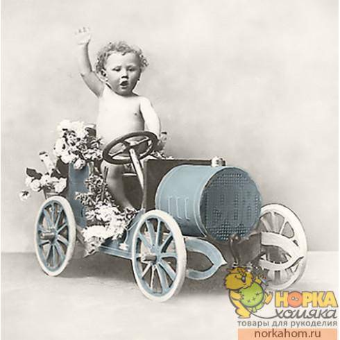"Салфетка для декупажа ""Мальчик на машинке"""