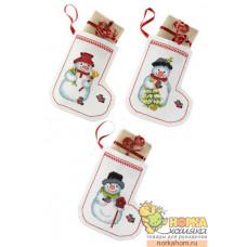 """Рождественские носки """"Снеговики"""""""