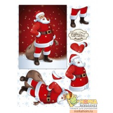 "Декупажная карта А4 3D ""Санта с подарками"""