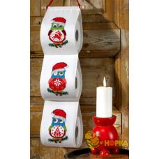 """Держатель для туалетной бумаги """"Три новогодние совы"""""""