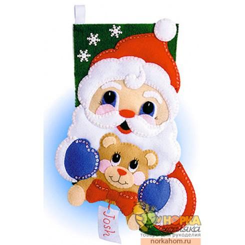 """Рождественский сапожок """"Санта с мишкой"""""""