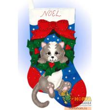 """Рождественский сапожок """"Серый котенок"""""""
