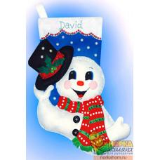 """Рождественский сапожок """"Снеговик со шляпой"""""""