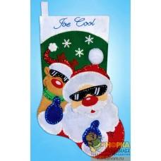 """Рождественский сапожок """"Санта и олень"""""""