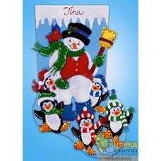 """Рождественский сапожок """"Снеговик и пингвины"""""""
