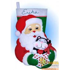 """Рождественский сапожок """"Санта с котом"""""""