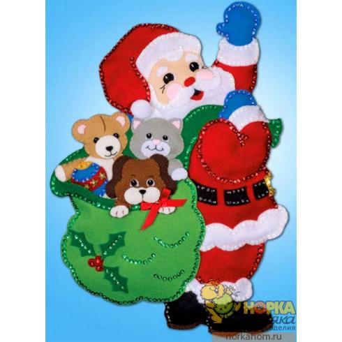 """Панно """"Санта с друзьями"""""""