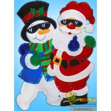 """Панно """"Санта и снеговик"""""""