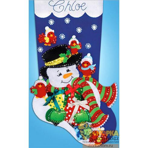 """Рождественский сапожок """"Снеговик и птички кардиналы-2"""""""