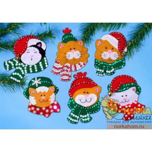 """Рождественские игрушки """"Коты в шарфиках"""""""