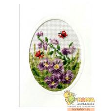 """Открытка """"Лиловые цветы и бабочки"""""""