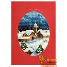 """Открытка """"Рождество. Домики и храм"""""""