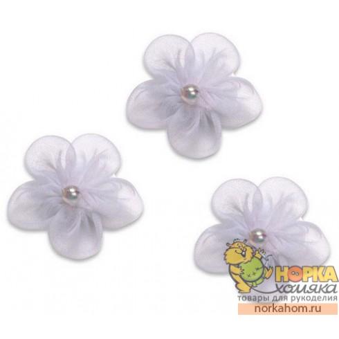 Белые цветочки из органзы