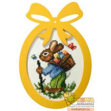 Пасхальный кролик с корзинкой (с фигурной рамкой)