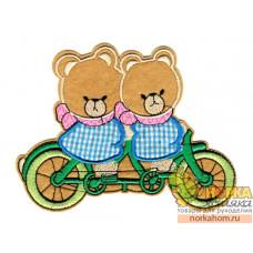 "Термоаппликация ""Медведи на велосипеде"""