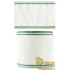 Канва-лента Лен 35 (кремовая с зеленым кантом)
