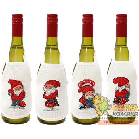 """Фартуки на бутылки """"Новогодние эльфы III"""""""
