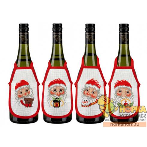 """Фартуки на бутылки """"Санта"""""""