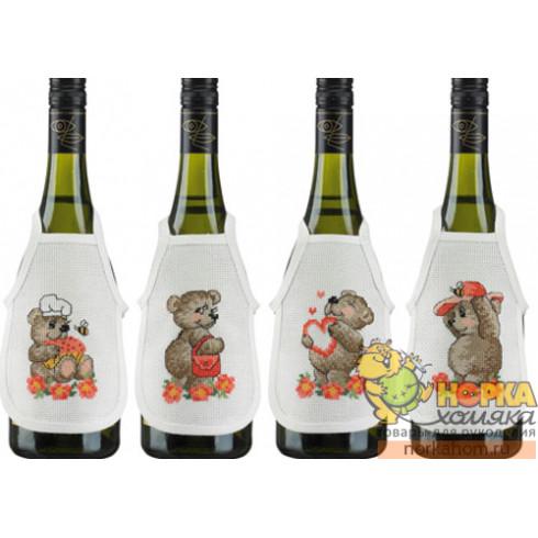 """Фартуки на бутылки """"Медвежата"""" (розовые)"""