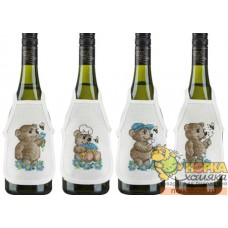 "Фартуки на бутылки ""Медвежата"" (голубые)"