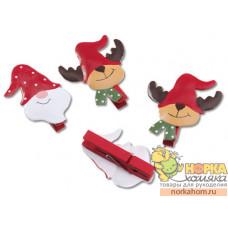"""Набор декоративных прищепок """"Санта и олень"""""""