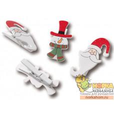 """Набор декоративных прищепок """"Санта и снеговик"""""""