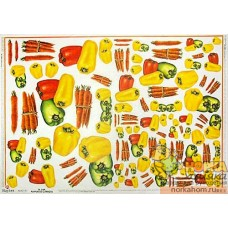 """Декупажная карта """"Сладкий перец и морковь"""""""