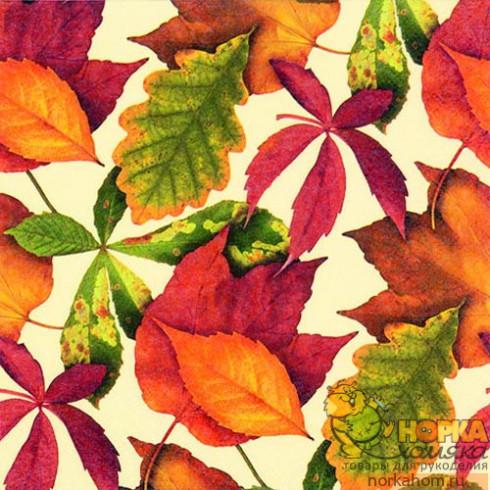 """Салфетка для декупажа """"Осенние листья на бежевом"""""""