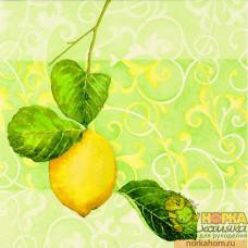 "Салфетка для декупажа ""Лимон на зеленом"""