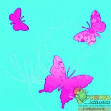 "Салфетка для декупажа ""Розовые бабочки на бирюзовом"""