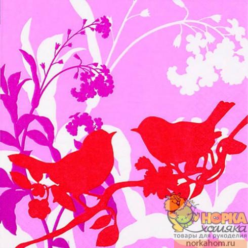 """Салфетка для декупажа """"Красные птички на розовом"""""""
