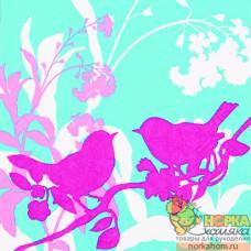 "Салфетка для декупажа ""Розовые птички на бирюзовом"""