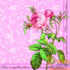 "Салфетка для декупажа ""Кустовая роза на розовом фоне"""