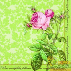 "Салфетка для декупажа ""Кустовая роза на зеленом фоне"""