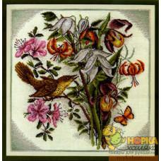 Букет цветов с птицей
