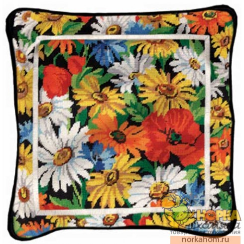 Daisies & Poppies pillow