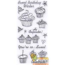 """Набор прозрачных штампов """"Birthday Cupcake"""""""