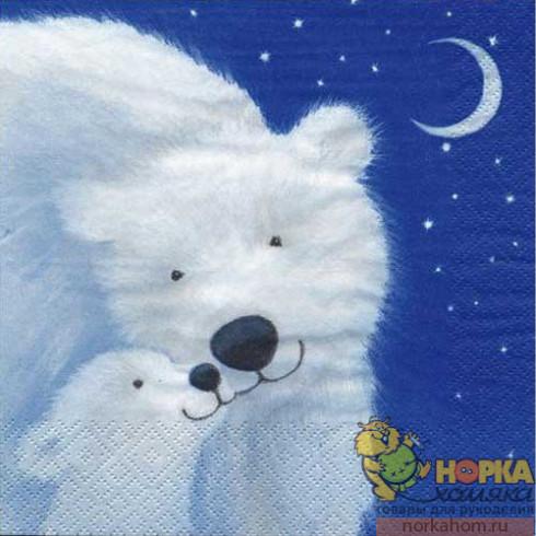 """Салфетка для декупажа """"Белый медведь"""""""