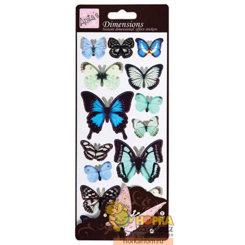 """Объемные наклейки """"Синие бабочки"""""""