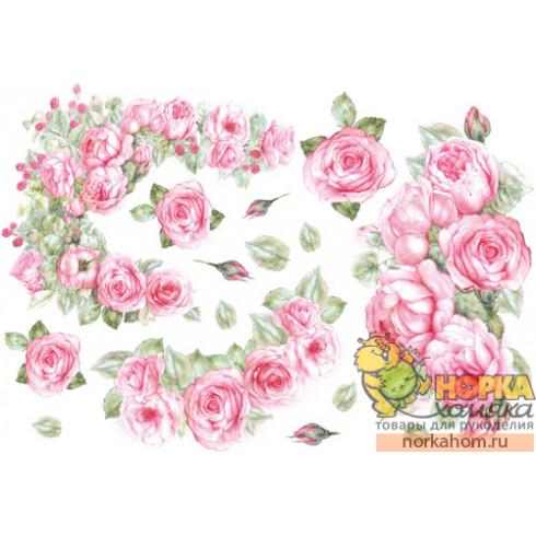 """Рисовая декупажная карта """"Розовые розы"""""""
