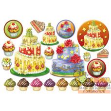 """Рисовая декупажная карта """"Рождественский торт"""""""