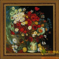 Ваза с маками, васильками и хризантемами