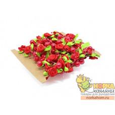 Красные розы с жемчугом на леске (5 м)